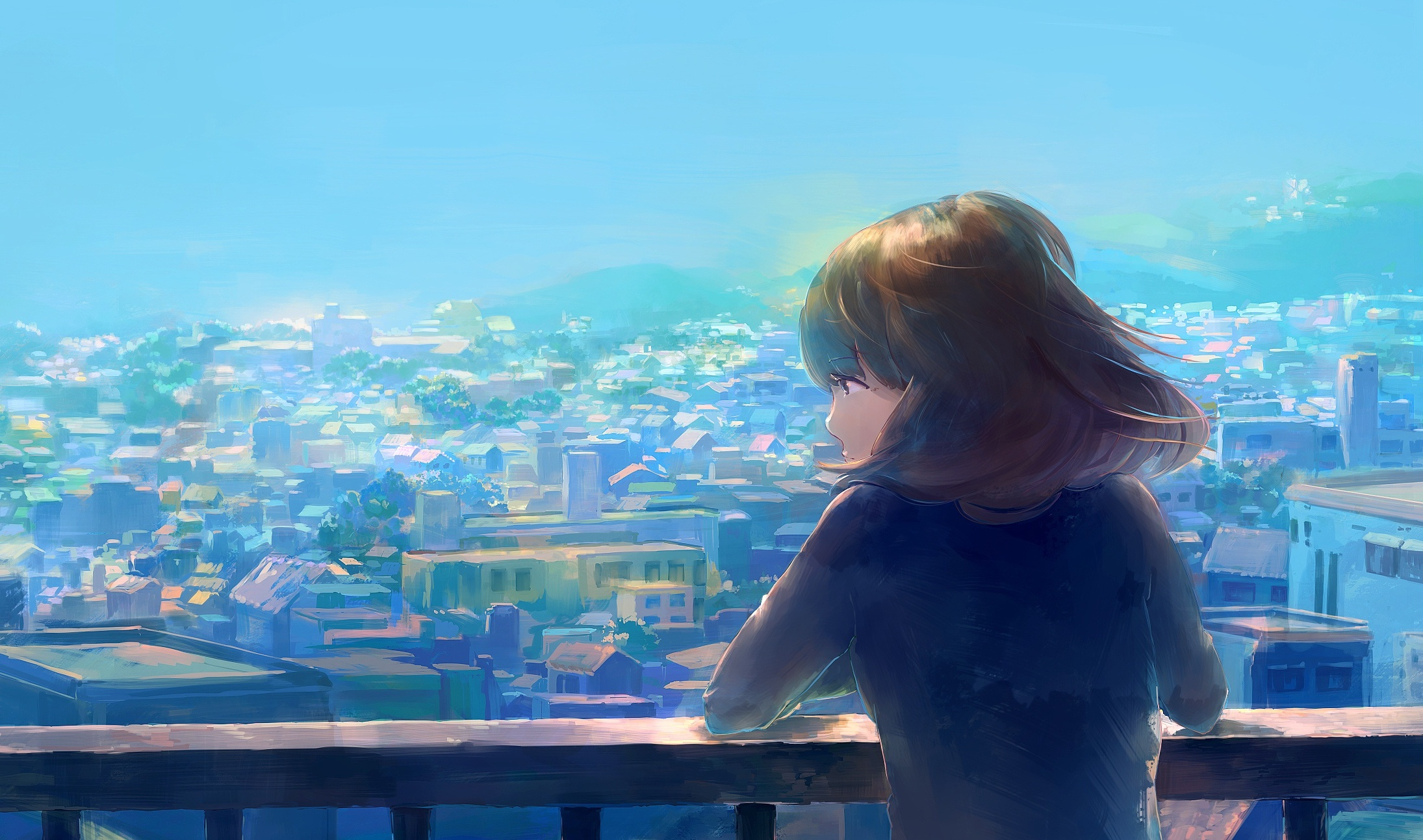 Wallpaper City View, Anime Girl ...