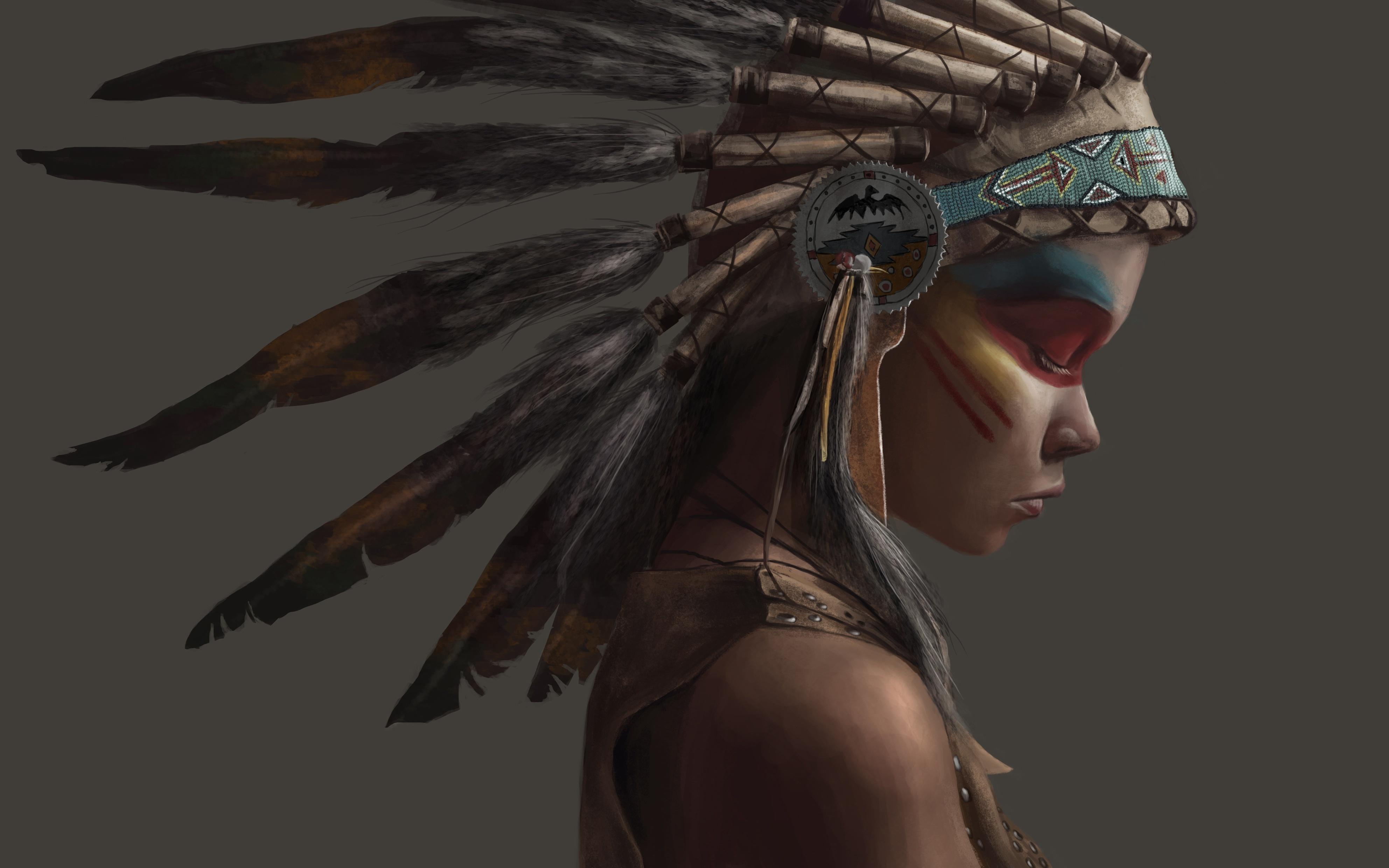Wallpaper Artwork, Native America, Painting, Profile View ...