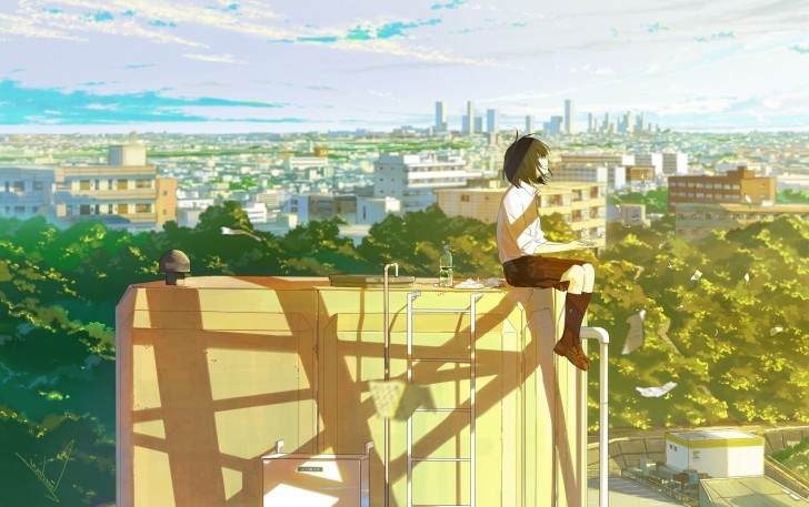Wallpaper Cityscape, Buildings, Rooftop, School Uniform, Anime Girl, Papers, Short Hair, Lonely ...